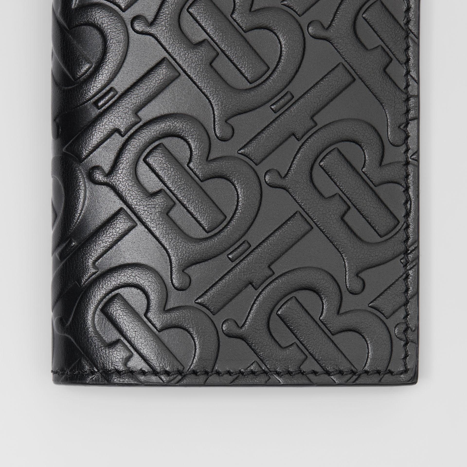Monogram Leather Bifold Card Case in Black - Men | Burberry - gallery image 1