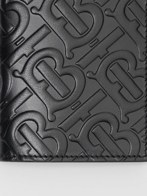 Monogram Leather Bifold Card Case in Black - Men | Burberry United States - cell image 1