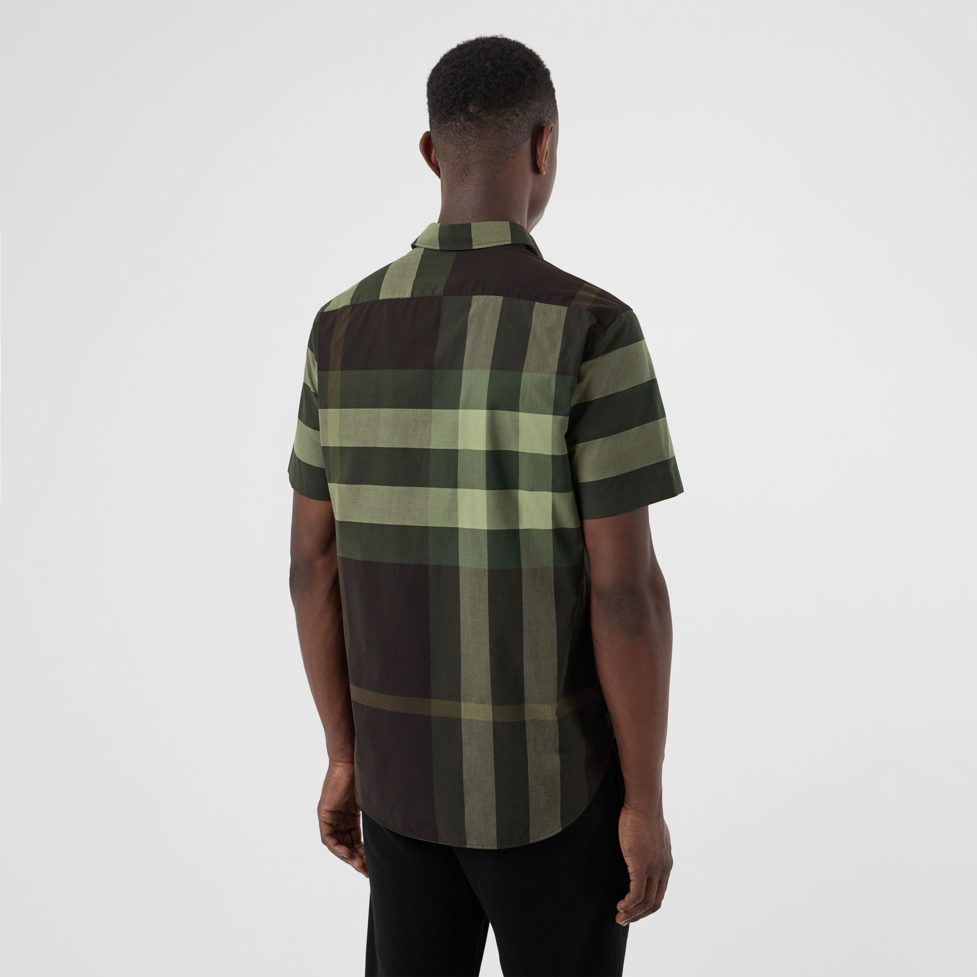 Short-sleeve Check Stretch Cotton Shirt in Dark Forest Green - Men | Burberry - gallery image 2