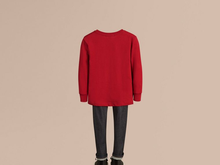 Long-sleeve Check Pocket Cotton T-shirt in Military Red - Boy | Burberry Canada - cell image 2