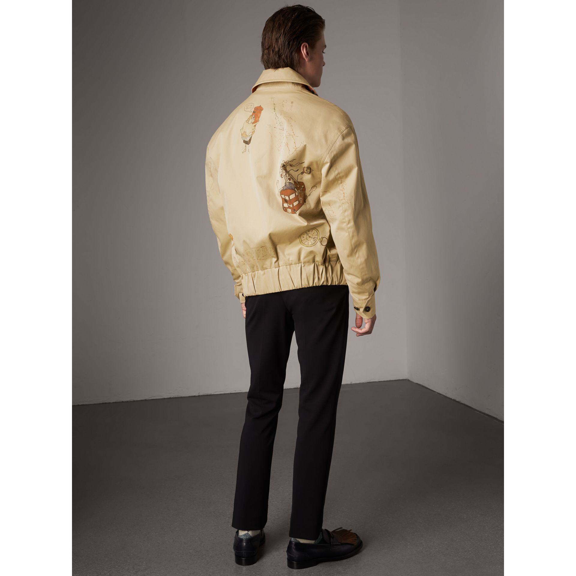 Sketch Print Cotton Gabardine Harrington Jacket in Honey - Men | Burberry - gallery image 3