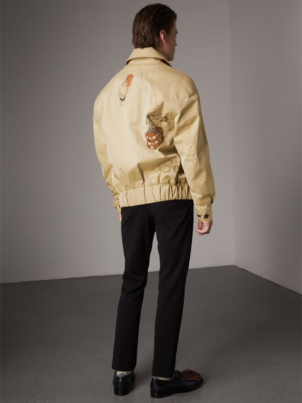 Sketch Print Cotton Gabardine Harrington Jacket in Honey - Men | Burberry - cell image 2