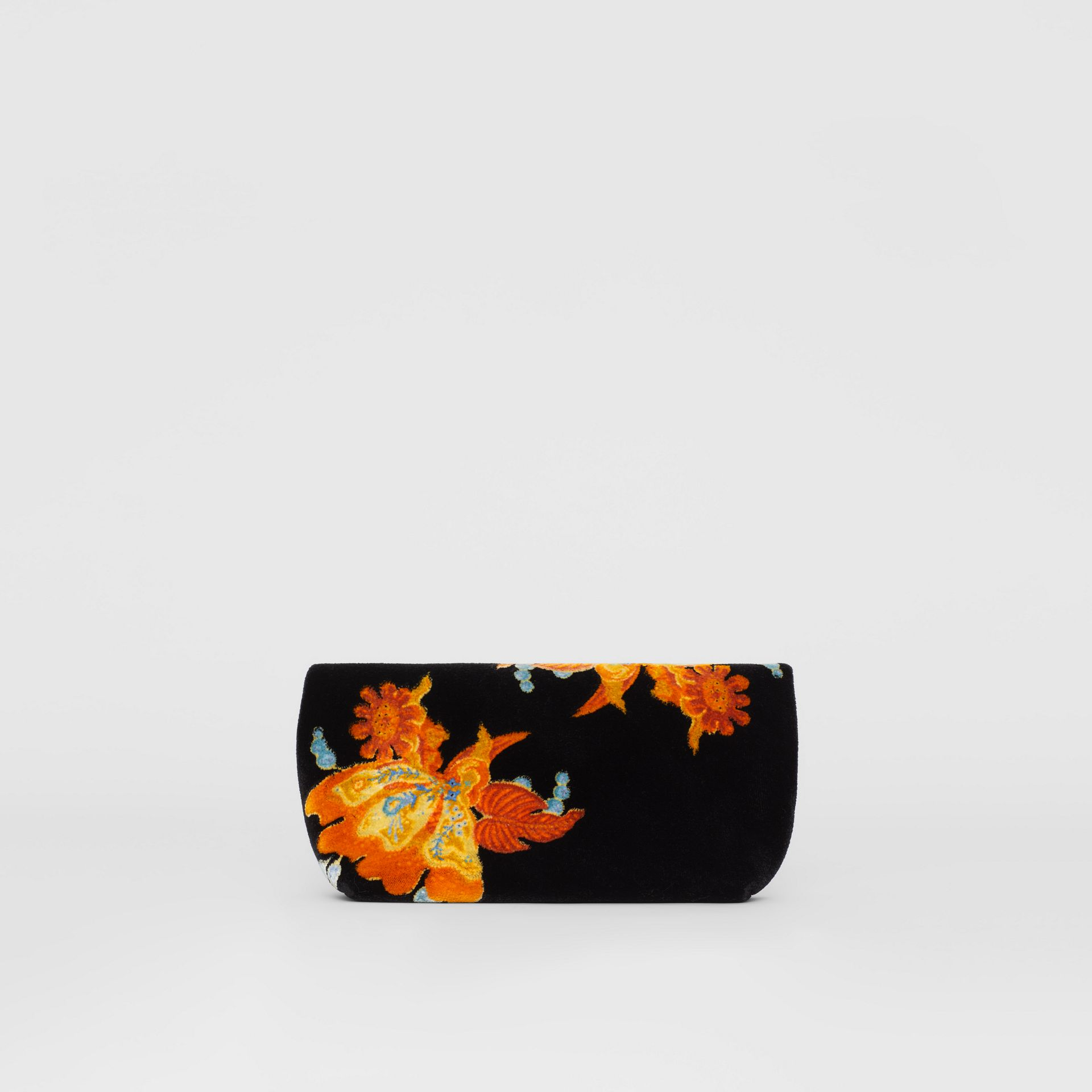 The Small Pin Clutch in Floral Velvet in Black - Women | Burberry United Kingdom - gallery image 7