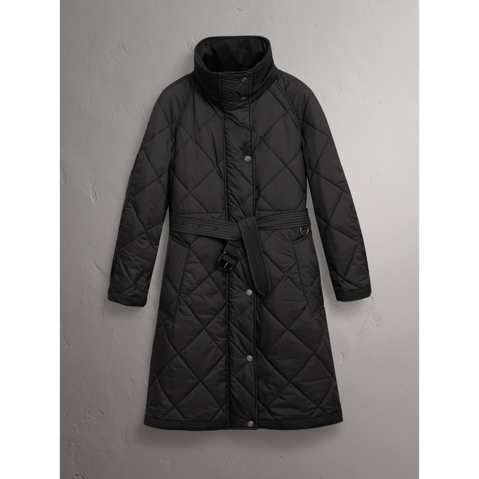 Packaway Hood Diamond Quilted Coat in Black - Women | Burberry Canada - gallery image 3