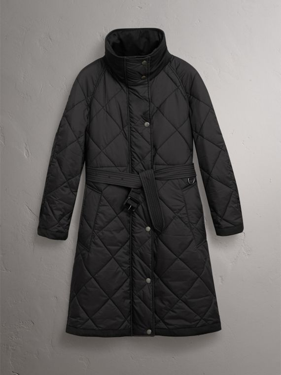 Packaway Hood Diamond Quilted Coat in Black - Women | Burberry - cell image 3