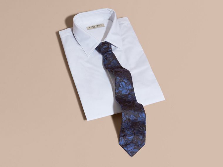 Navy Modern Cut Floral Jacquard Silk Tie Navy - cell image 2