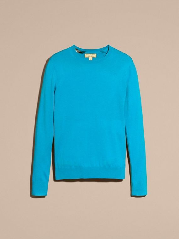 Bright mineral blue Lightweight Crew Neck Cashmere Sweater with Check Trim Bright Mineral Blue - cell image 3