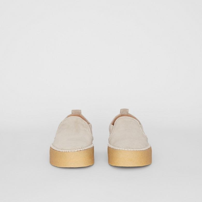 Burberry - Zapatillas deportivas sin cordones en ante - 4