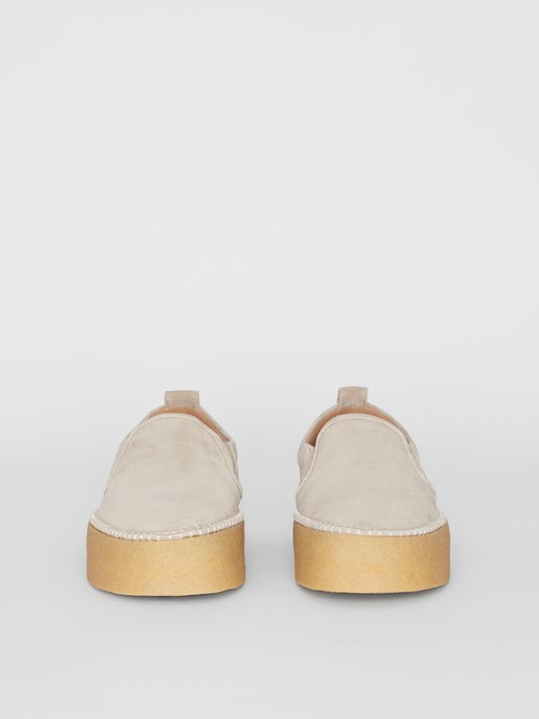 Suede Slip-on Sneakers in Sandy Beige - Men | Burberry - cell image 3