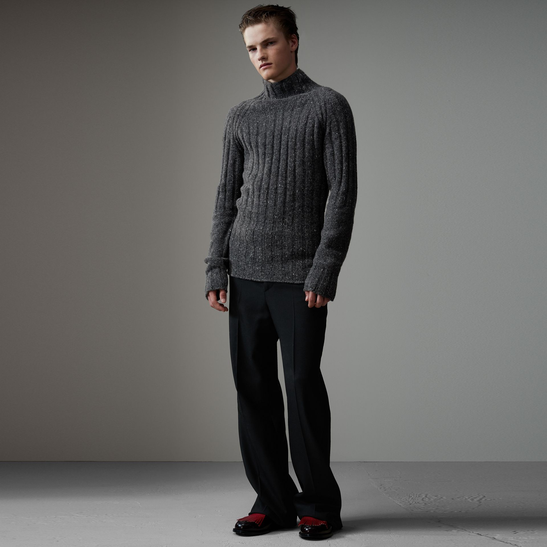 Rib Knit Wool Cashmere Turtleneck Sweater in Charcoal - Men | Burberry United Kingdom - gallery image 0