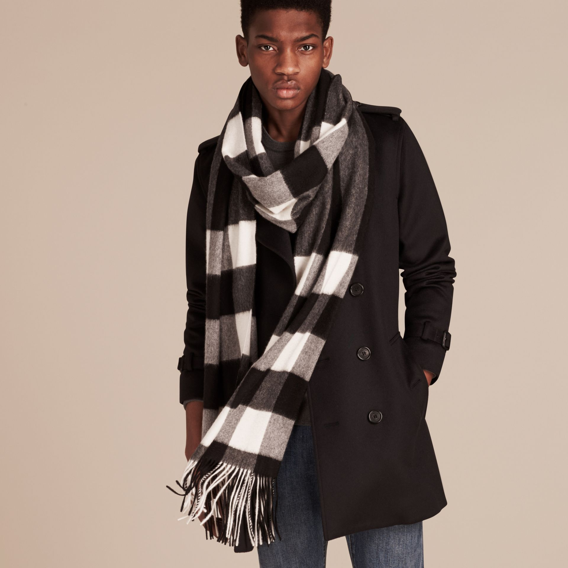 Oversize Check Cashmere Scarf in Black - gallery image 4