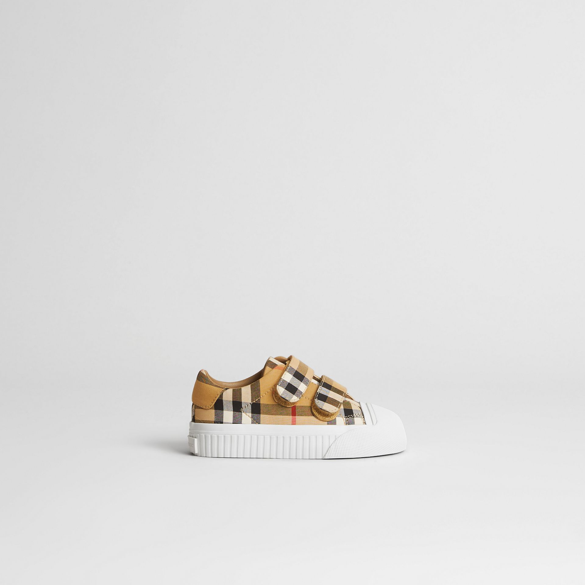 Vintage Check and Leather Sneakers in Optic White/black - Children | Burberry United Kingdom - gallery image 3