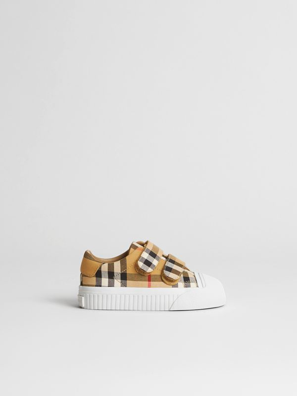 Vintage Check and Leather Sneakers in Optic White/black - Children | Burberry - cell image 3