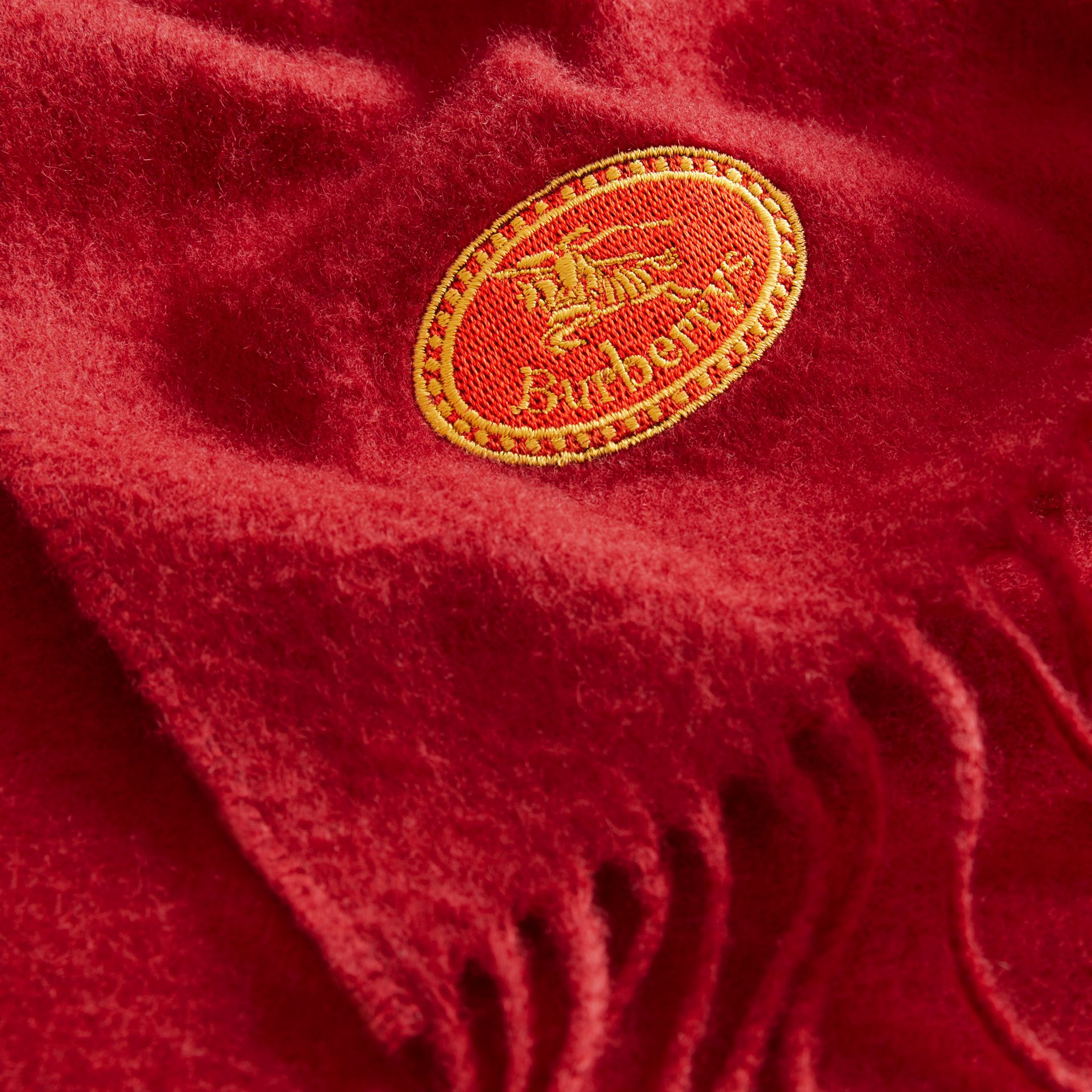 The Burberry Bandana in Embroidered Cashmere in Parade Red | Burberry - gallery image 1