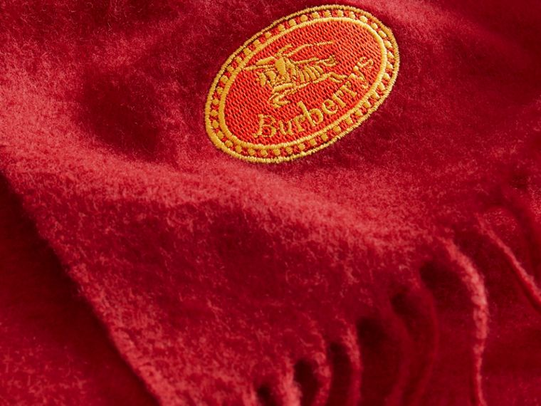 The Burberry Bandana in Embroidered Cashmere in Parade Red | Burberry Singapore - cell image 1