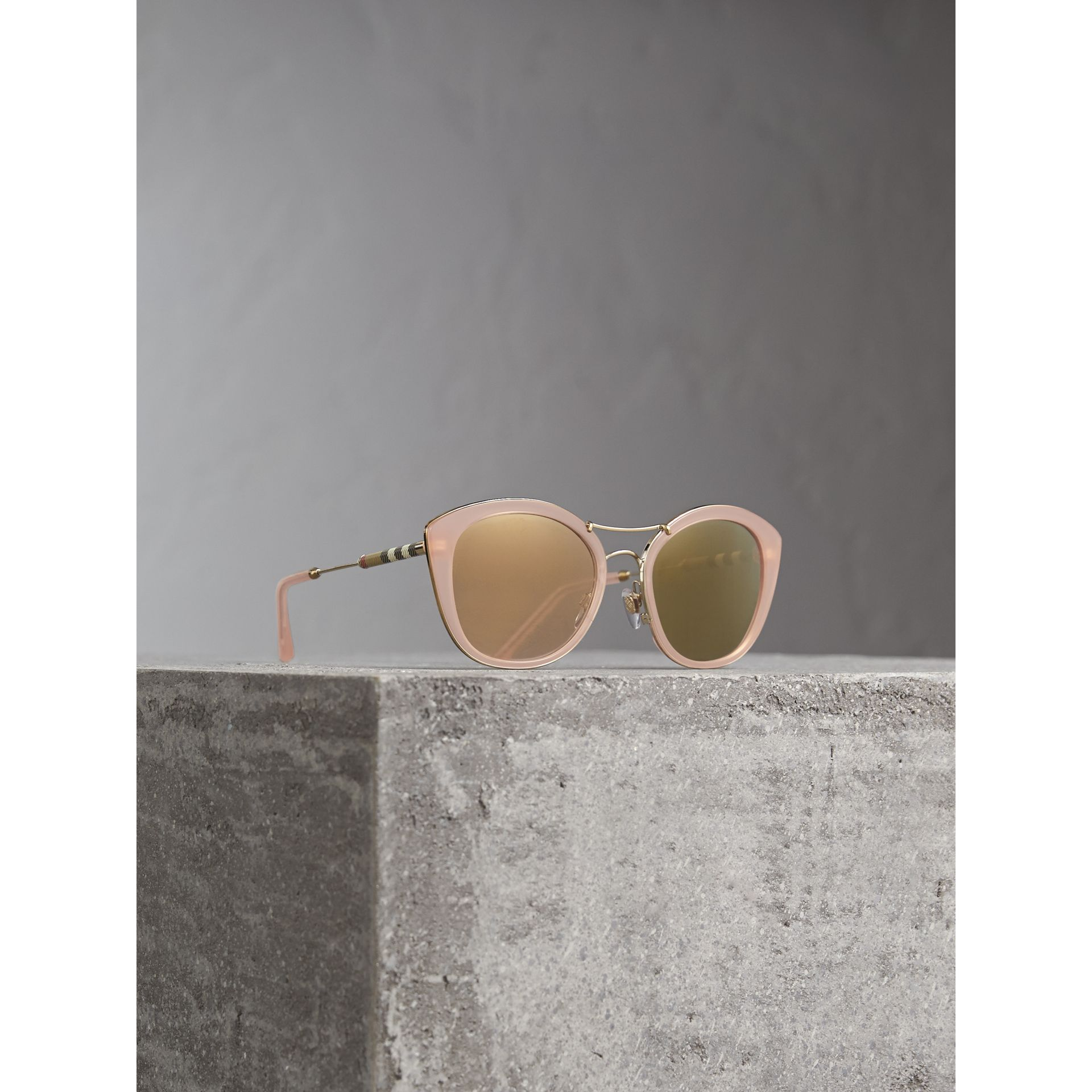 Check Detail Round Frame Sunglasses in Rose Pink - Women | Burberry United States - gallery image 1
