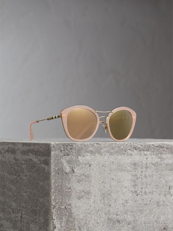 Check Detail Round Frame Sunglasses in Rose Pink - Women | Burberry Australia