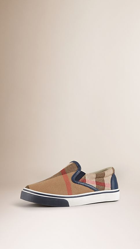 Navy House Check Cotton Slip-On Trainers Navy - Image 1