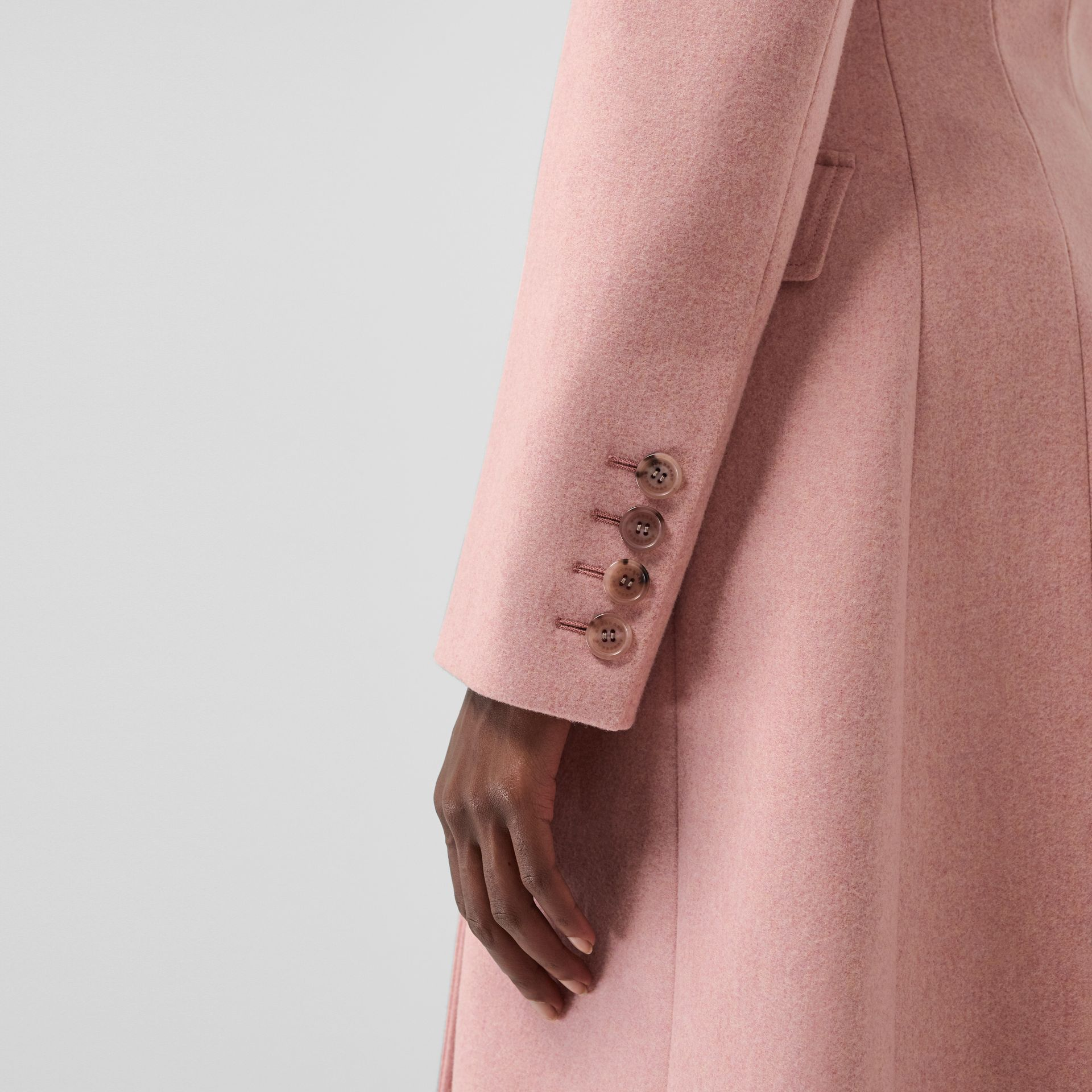 Double-breasted Wool Tailored Coat in Apricot Pink Melange - Women | Burberry United Kingdom - gallery image 4