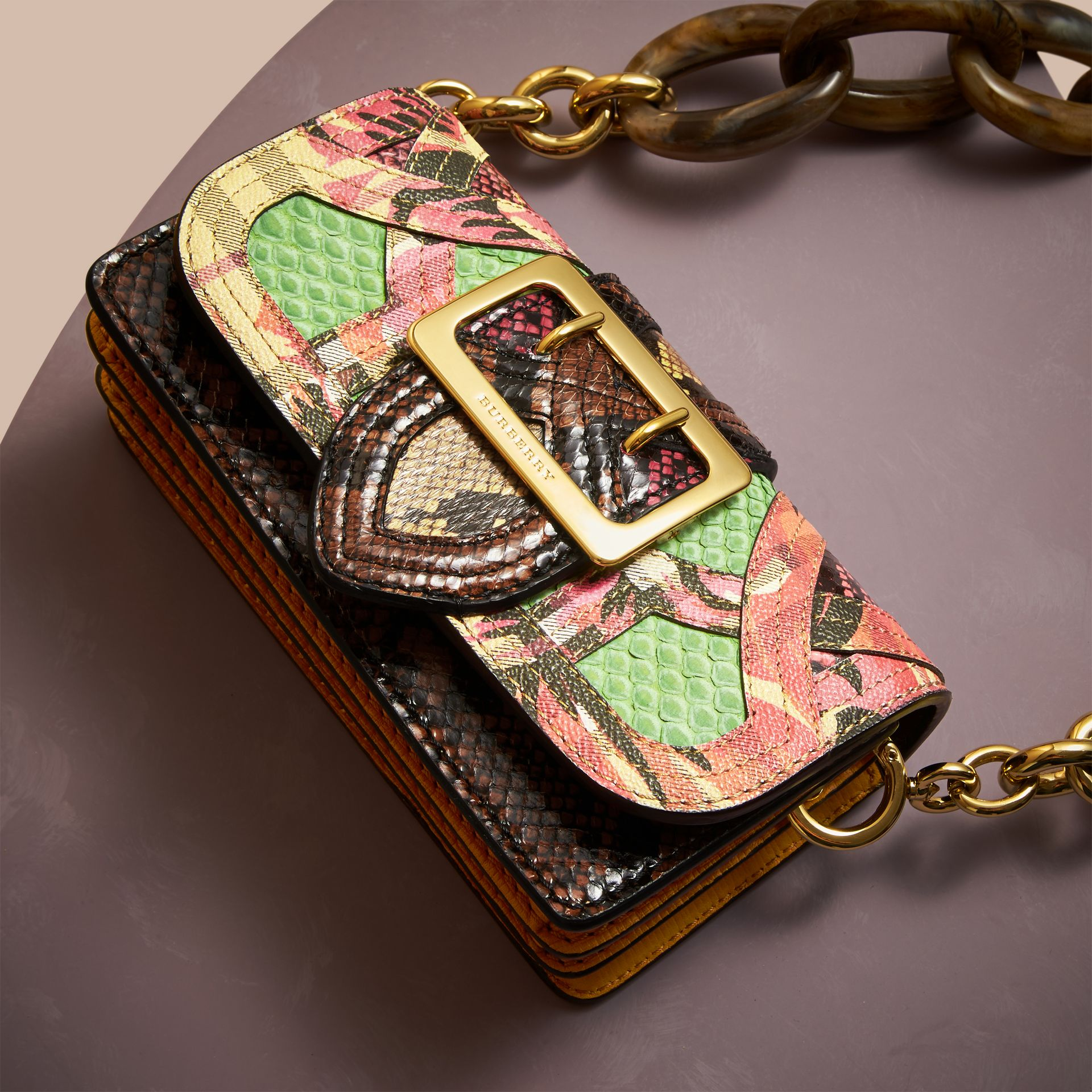 The Small Buckle Bag in Snakeskin and Floral Print - gallery image 6