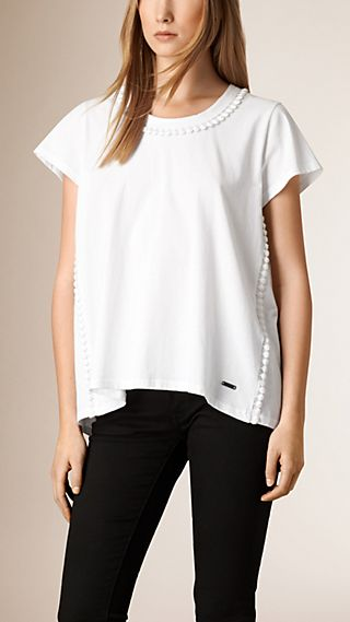 Pom-Pom Detail Linen T-Shirt