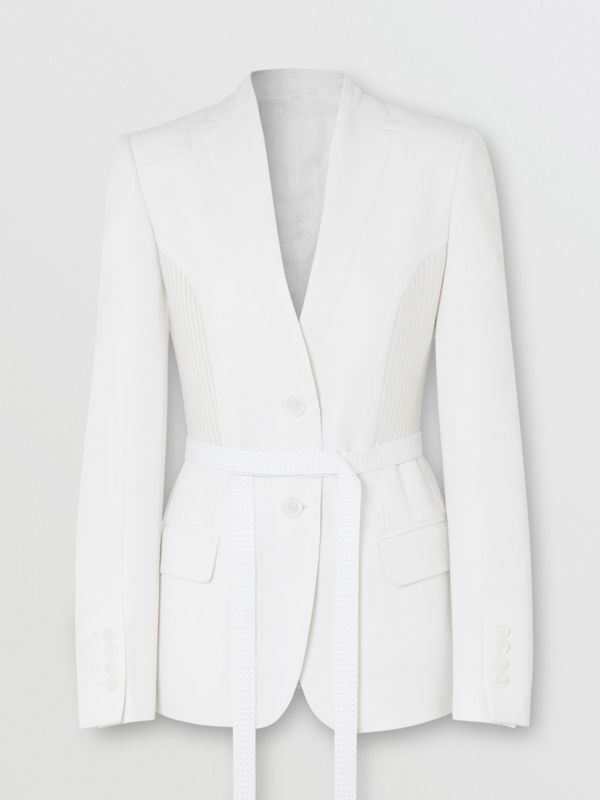 Wool Belted Blazer in Snow - Women | Burberry - cell image 3