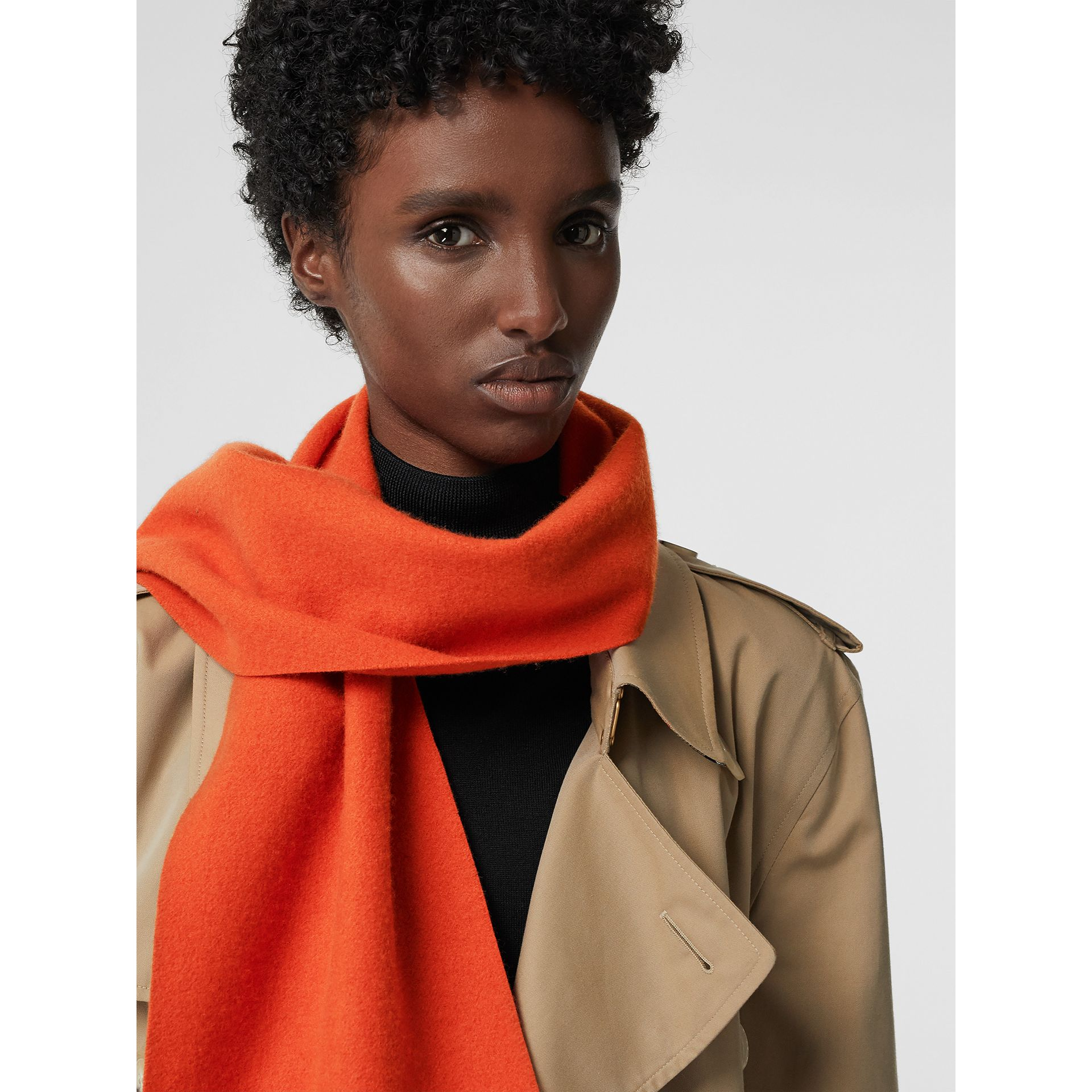 Embroidered Felted Wool Scarf in Clementine | Burberry Canada - gallery image 5