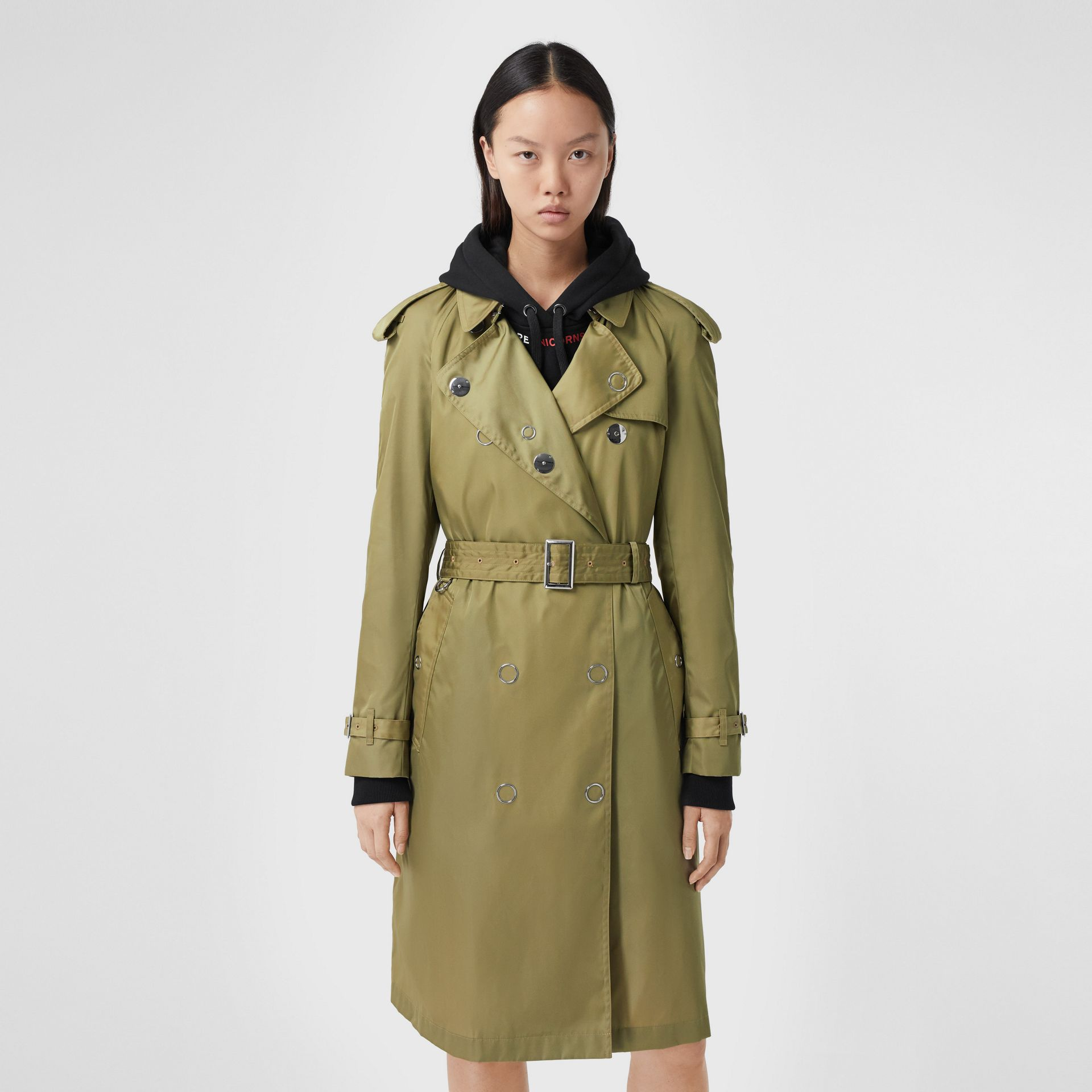 Press-stud Detail ECONYL® Trench Coat in Rich Olive - Women | Burberry Australia - gallery image 0