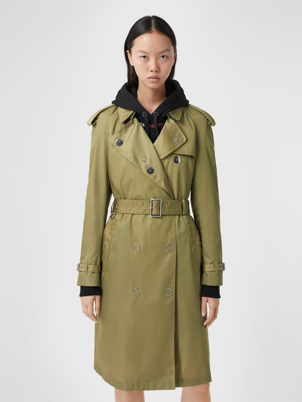 Trench en ECONYL® avec boutons pression in Olive Intense