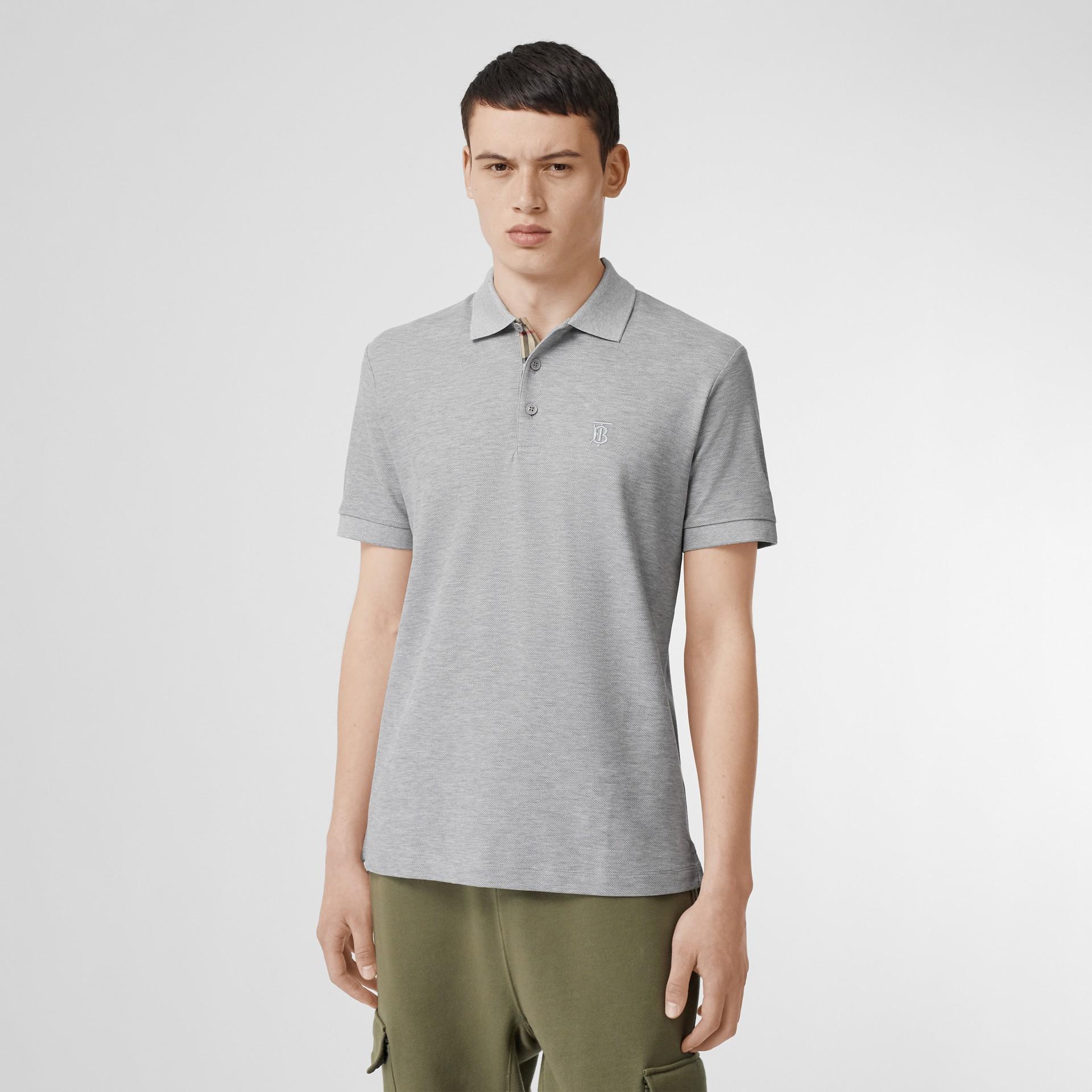 Monogram Motif Cotton Piqué Polo Shirt in White - Men | Burberry - gallery image 3