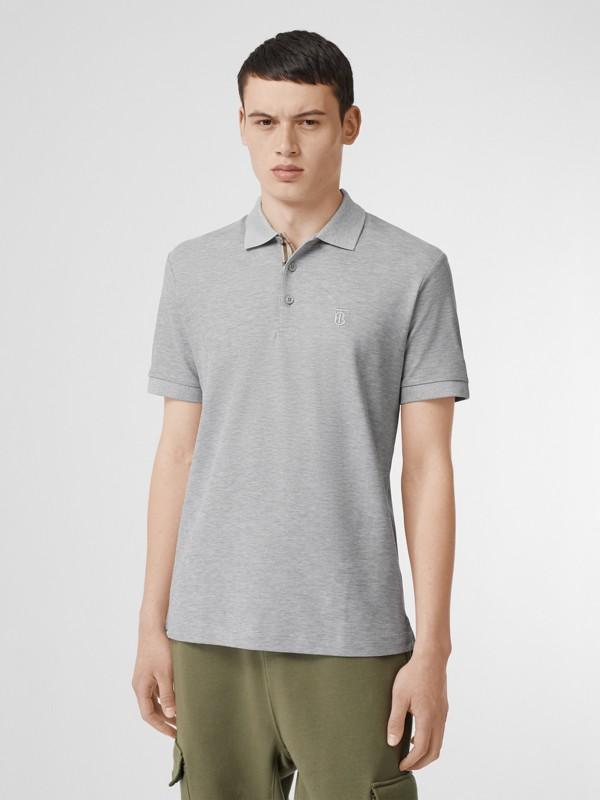 Monogram Motif Cotton Piqué Polo Shirt in White - Men | Burberry - cell image 3