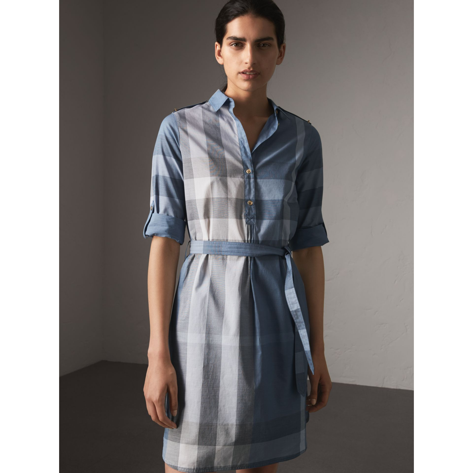 Tie-waist Check Cotton Shirt Dress in Canvas Blue - Women | Burberry - gallery image 5