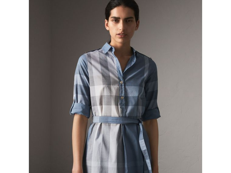 Tie-waist Check Cotton Shirt Dress in Canvas Blue - Women | Burberry - cell image 4