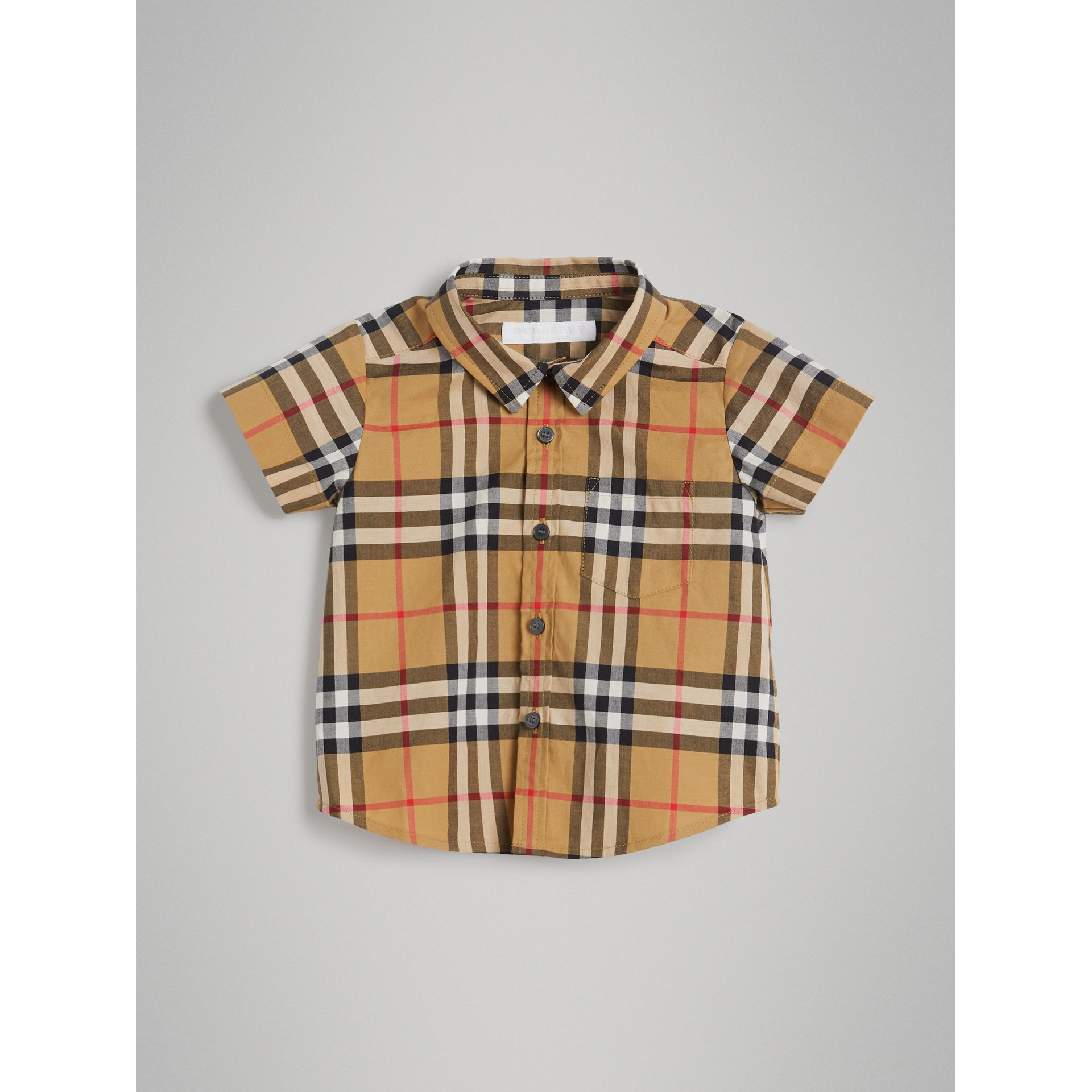 Short-sleeve Vintage Check Cotton Shirt in Antique Yellow | Burberry Australia - gallery image 0