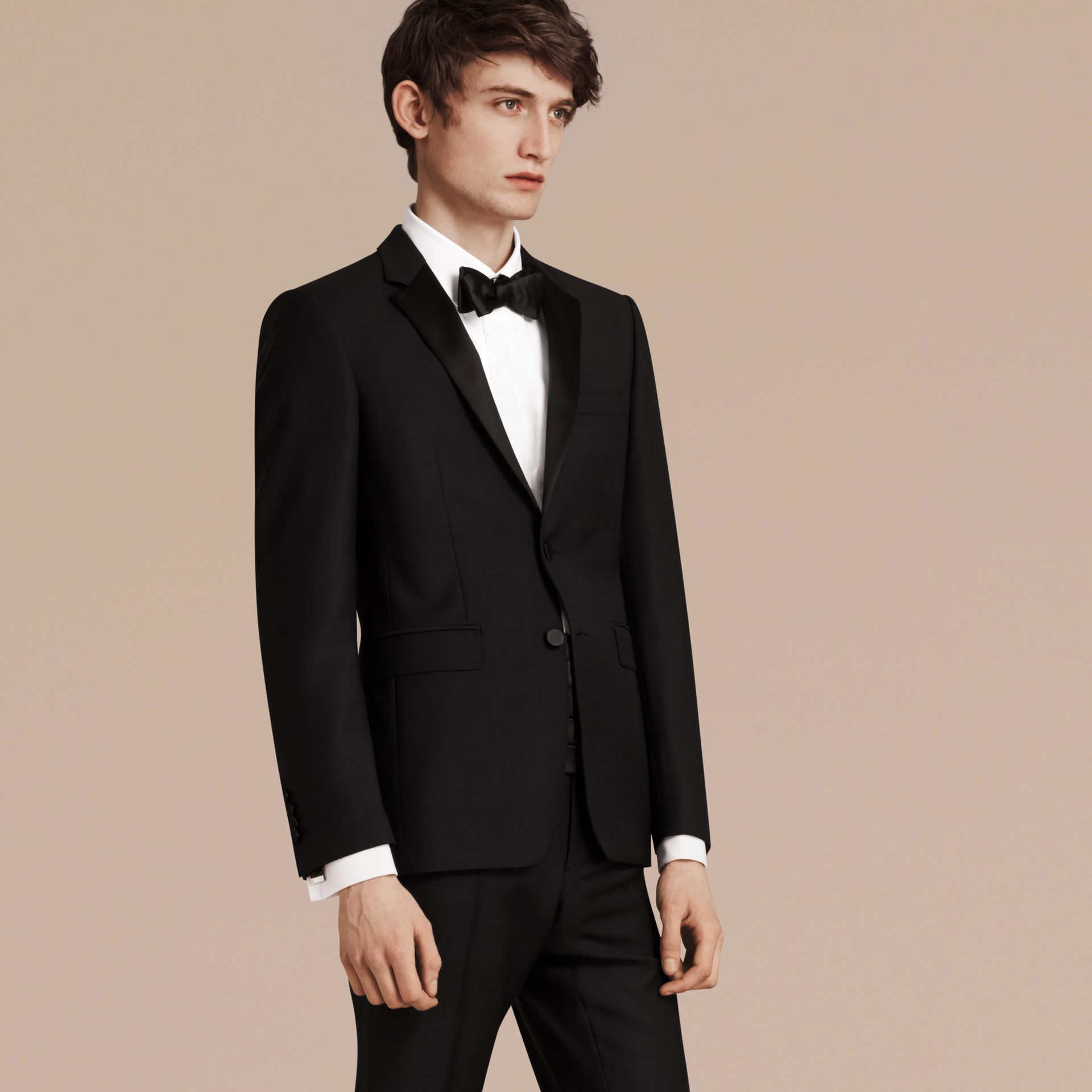 Black Slim Fit Wool Mohair Half-canvas Tuxedo - gallery image 8