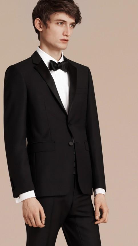Black Slim Fit Wool Mohair Half-canvas Tuxedo - Image 8