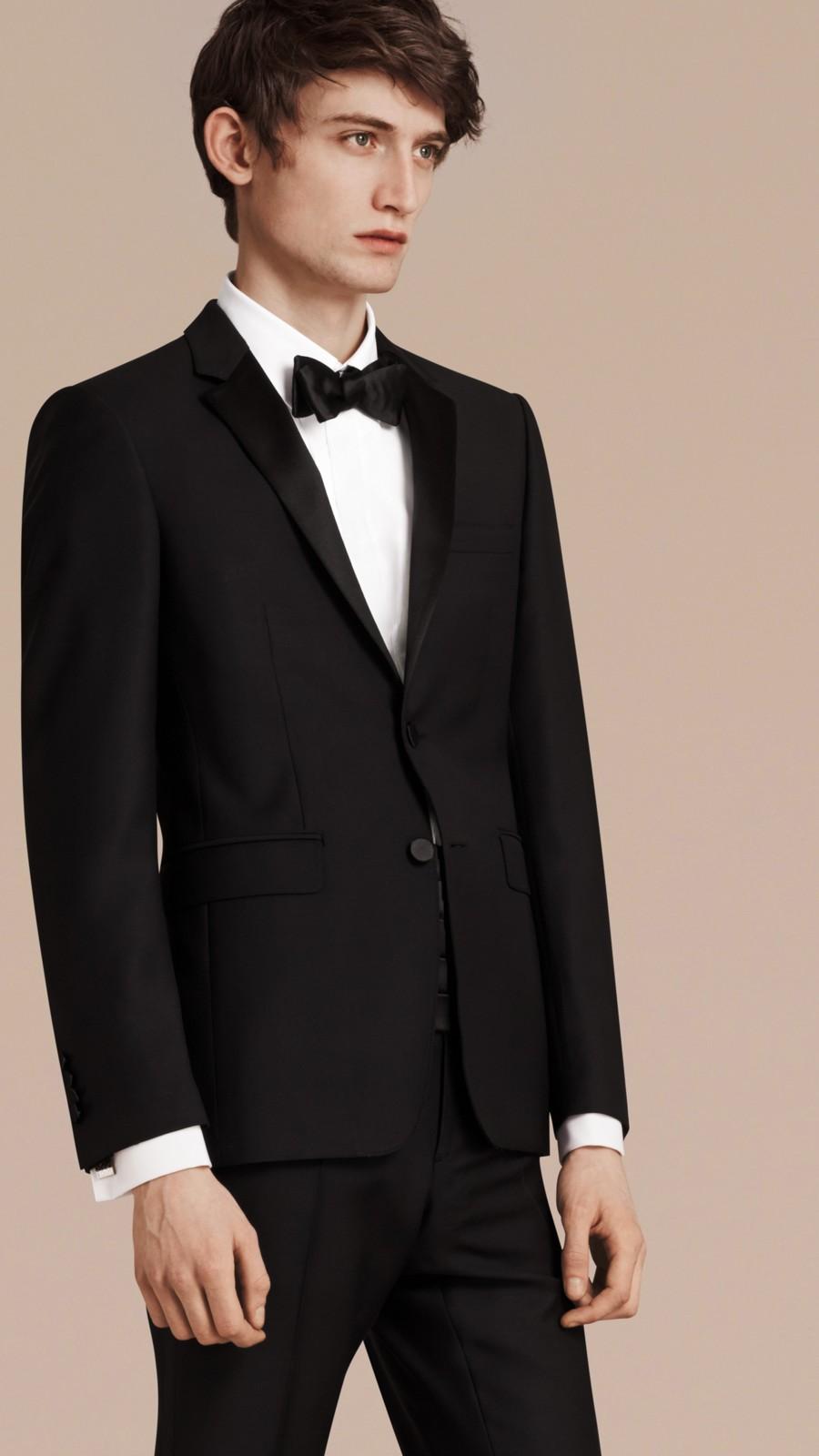 Black Slim Fit Wool Mohair Half-canvas Tuxedo - Image 9
