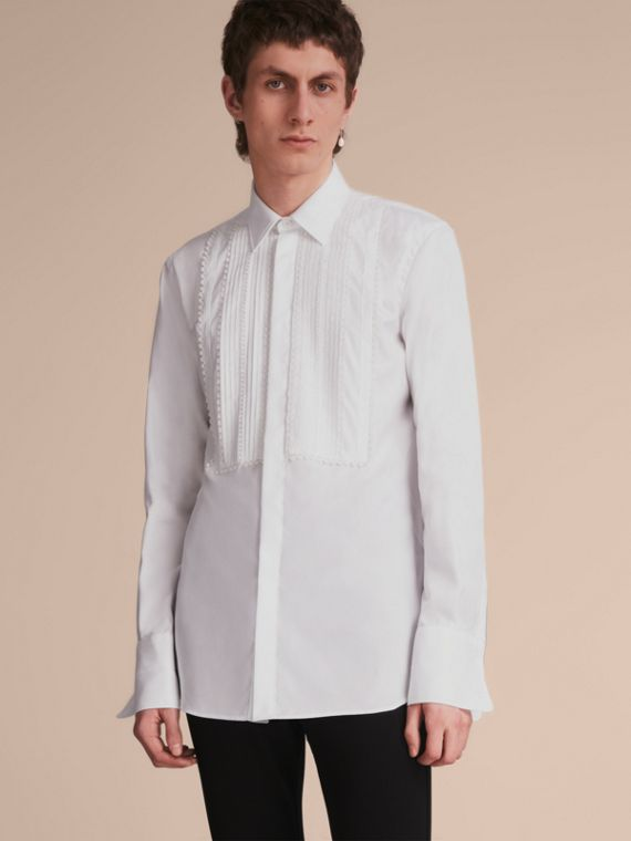 Cotton Shirt with Pintuck and Macramé Trim Bib - Men | Burberry