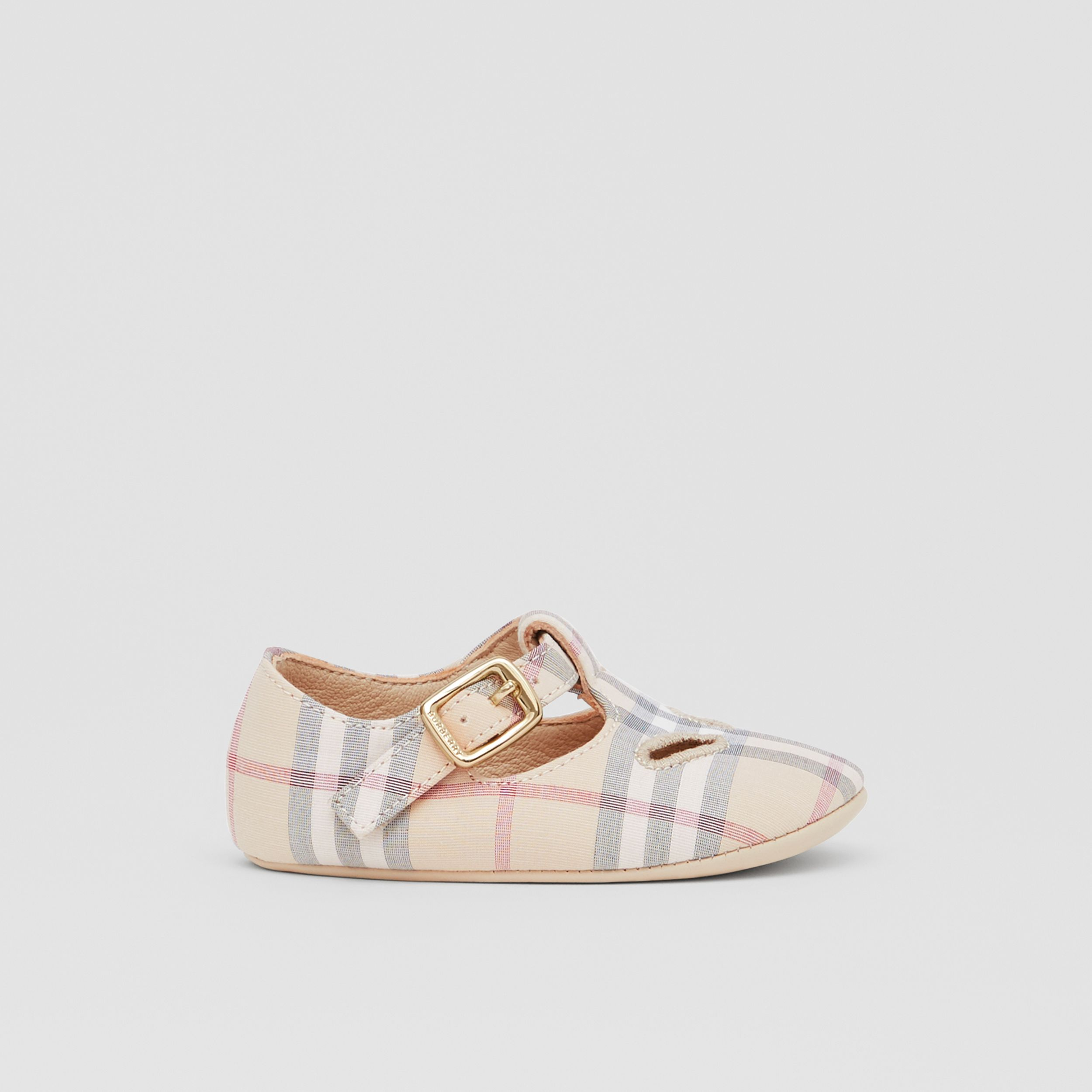 Check Cotton and Leather T-bar Shoes in Pale Stone - Children | Burberry - 4