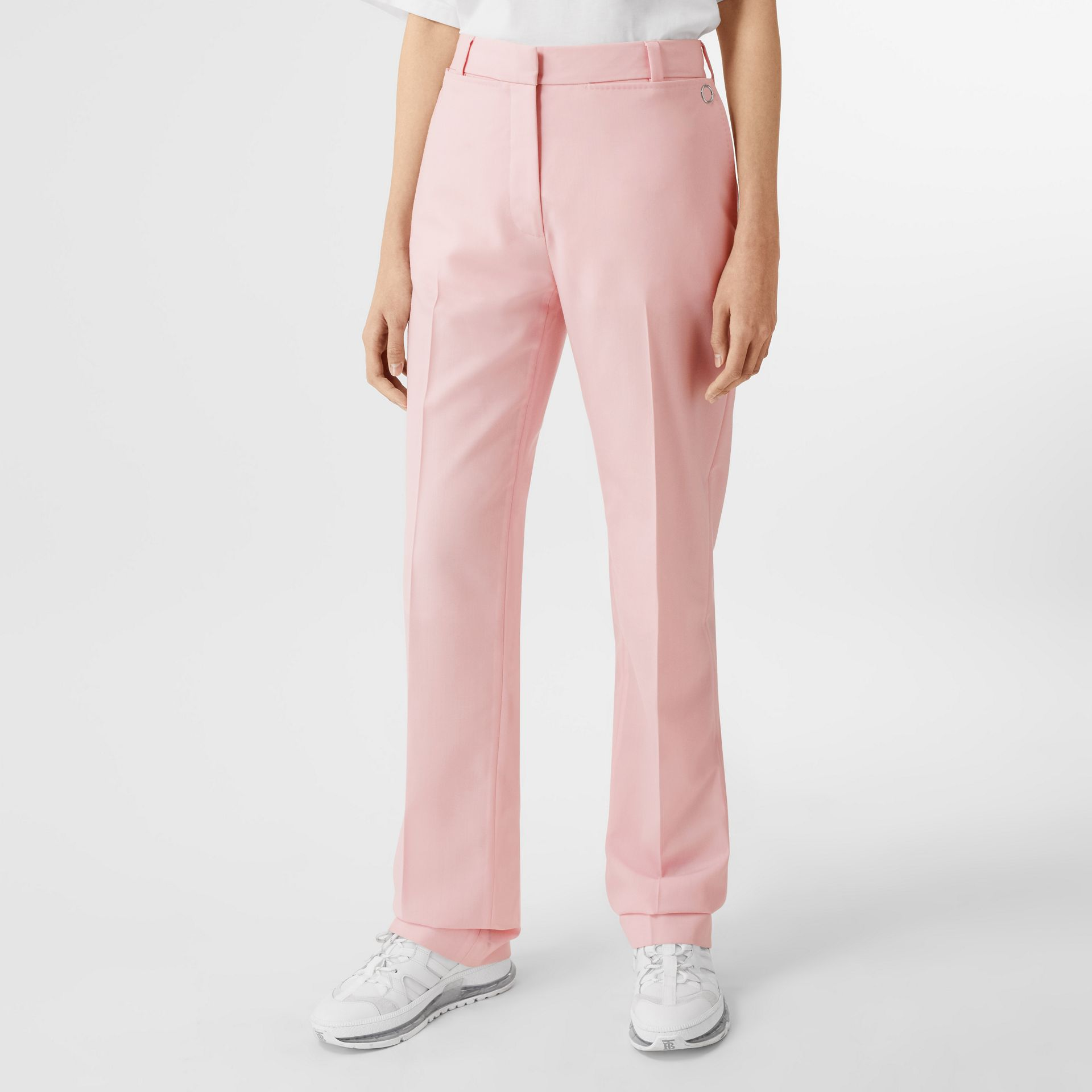 Pocket Detail Tumbled Wool Tailored Trousers in Soft Pink | Burberry United Kingdom - gallery image 4