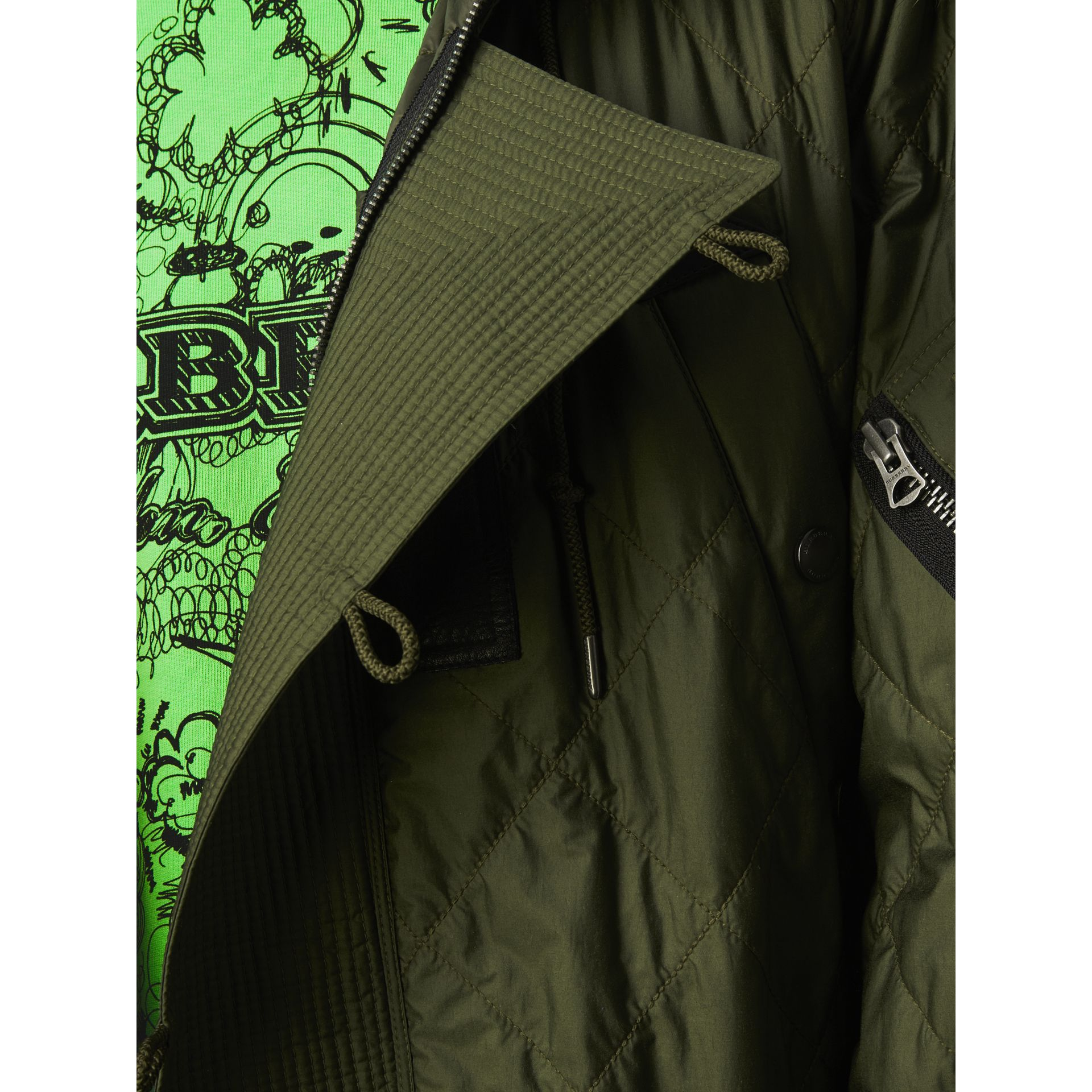 Detachable Fur Trim Hooded Diamond Quilted Parka in Olive - Men | Burberry - gallery image 3