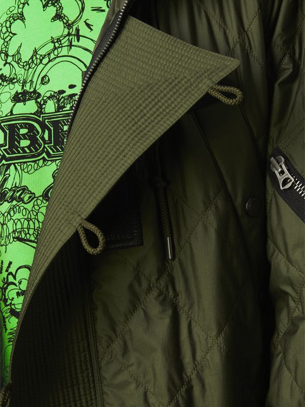 Detachable Fur Trim Hooded Diamond Quilted Parka in Olive - Men | Burberry - cell image 3