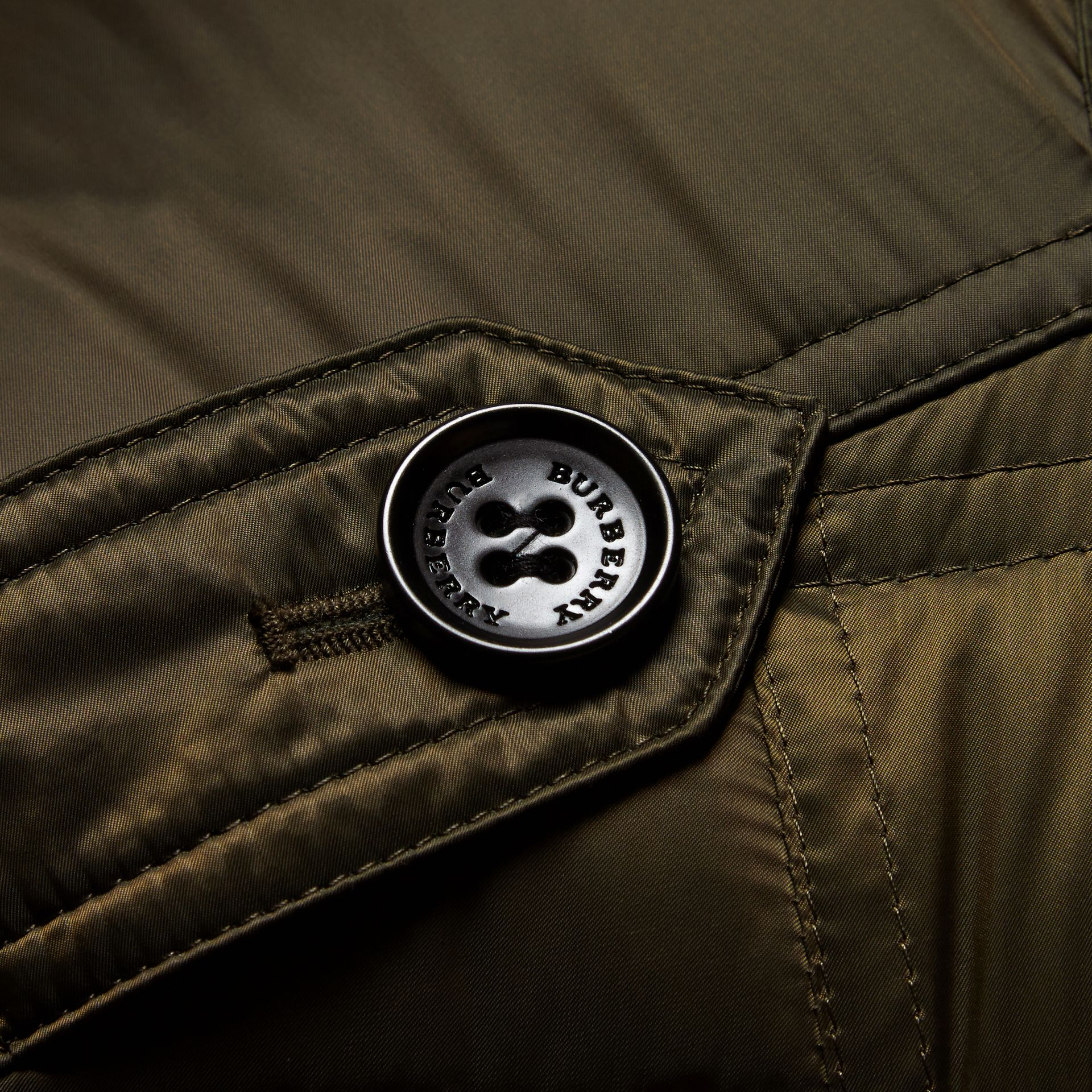 Down-filled Puffer Coat with Detachable Hood in Dark Olive - gallery image 2