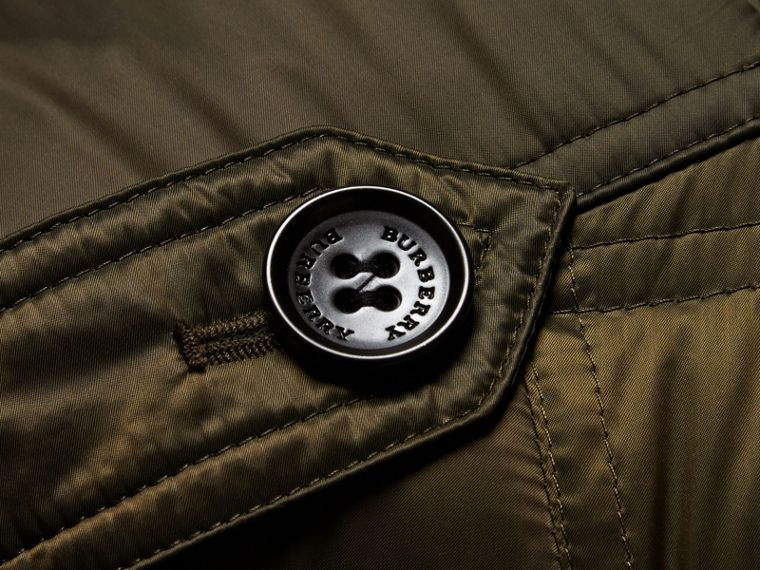 Down-filled Puffer Coat with Detachable Hood in Dark Olive - cell image 1