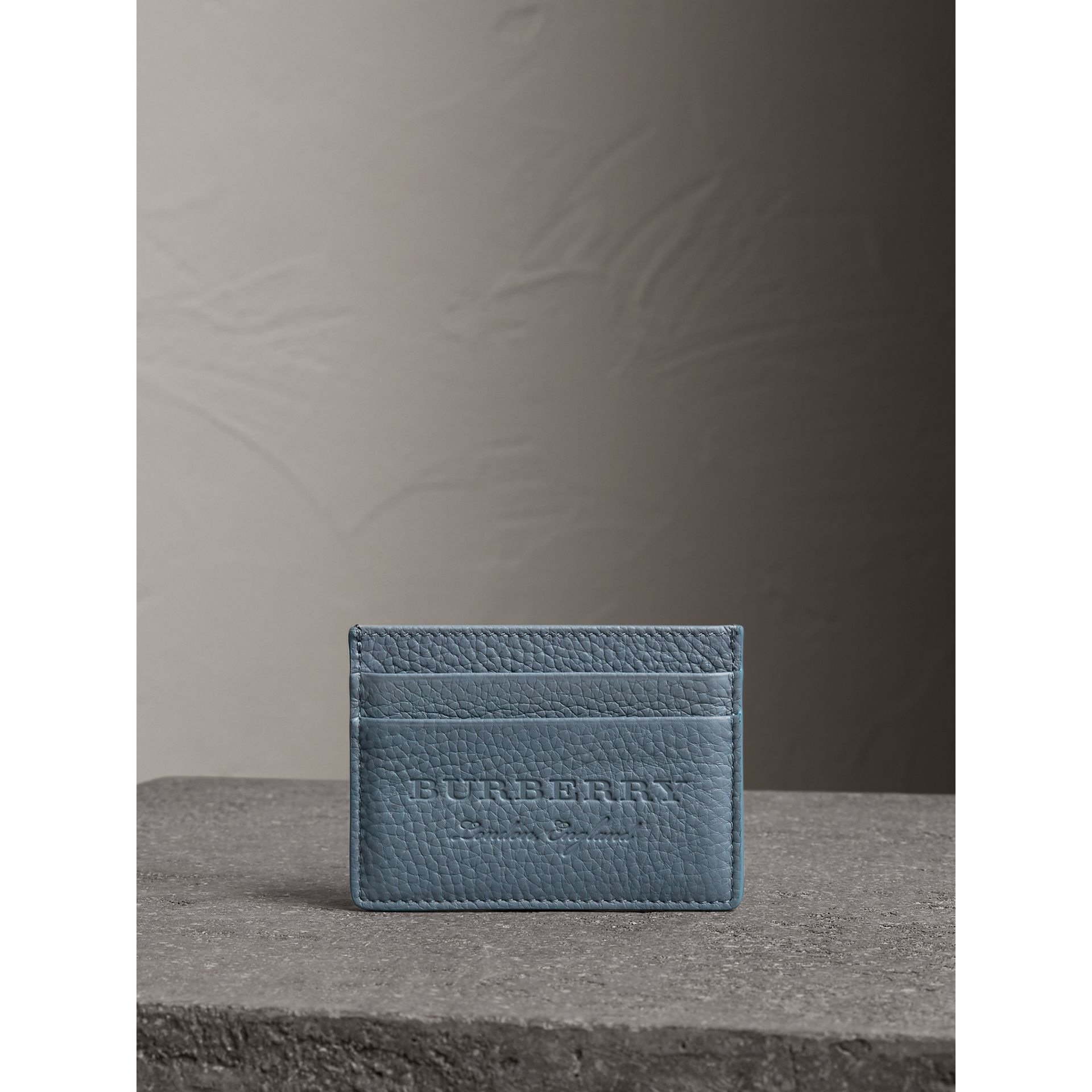 Embossed Textured Leather Card Case in Dusty Teal Blue - Women | Burberry Australia - gallery image 3