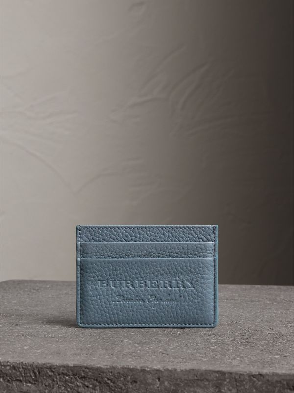 Embossed Textured Leather Card Case in Dusty Teal Blue | Burberry - cell image 3