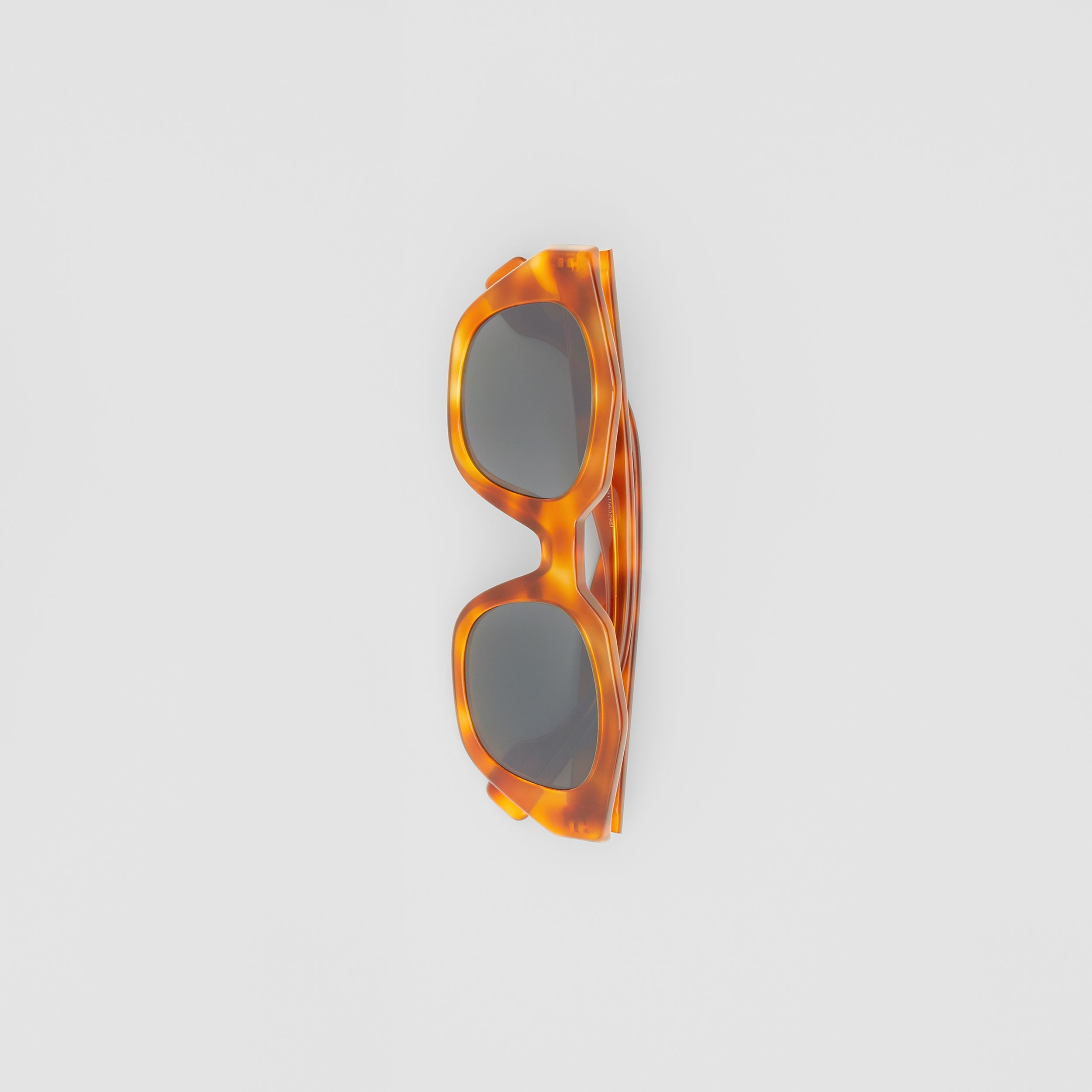 Geometric Frame Sunglasses in Tortoiseshell Amber - Women | Burberry - 4