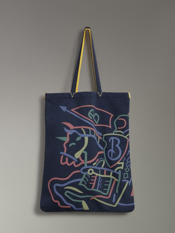 Shopper grande in jersey con logo di archivio (Navy)