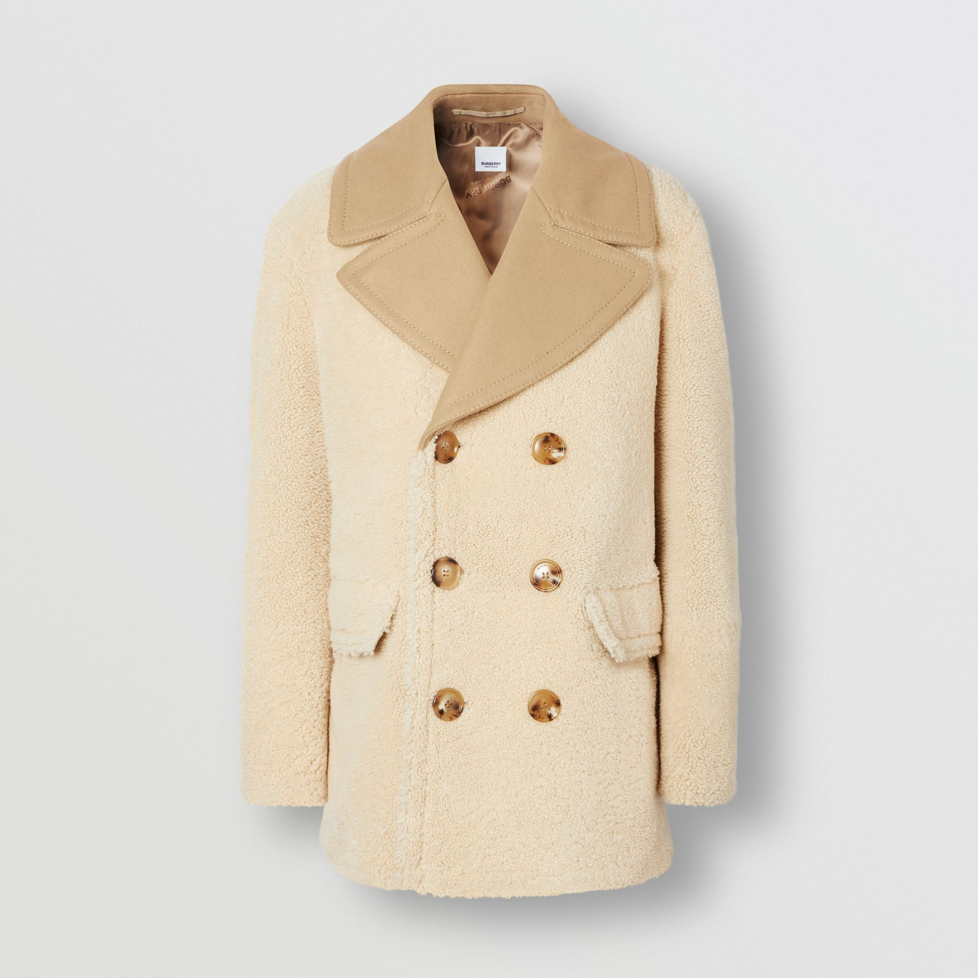 Contrast Wool Collar Shearling Pea Coat in Sesame - Men | Burberry - gallery image 3