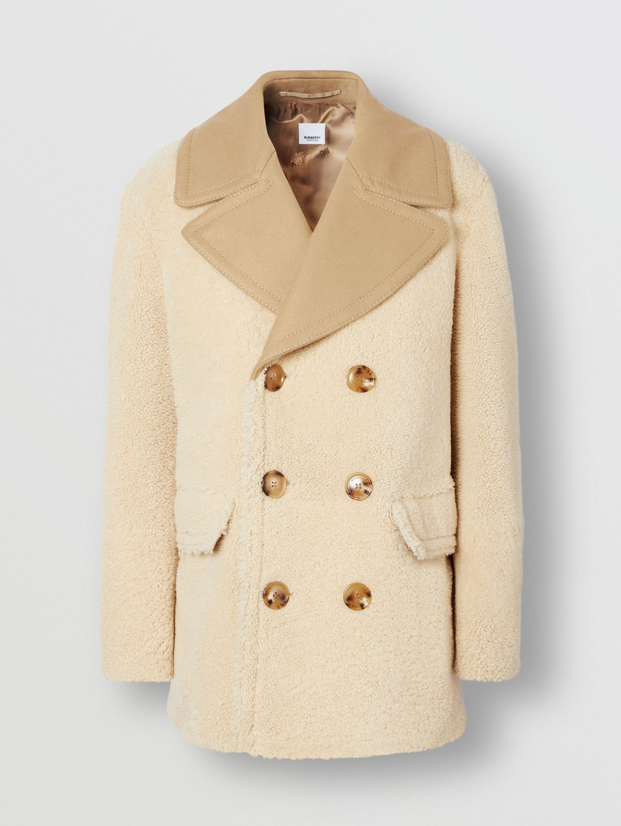 Contrast Wool Collar Shearling Pea Coat in Sesame